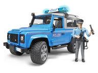 Bruder Land Rover hälytysajoneuvo poliisimiehellä varusteineen
